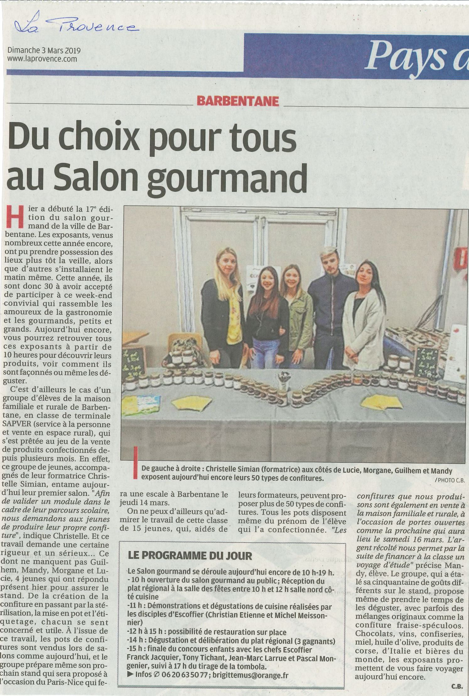 Salon gourmand Barbentane